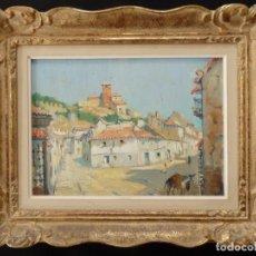 Arte - Calle de pueblo. Jesús Apellániz. Óleo sobre lienzo. Obra original y firmada. - 145548606
