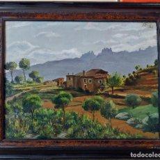Arte: OLEO SOBRE TELA 43X33 PAISAJE CON MONTSERRAT 1941 - JOAN DUCH AGULLÓ (1891-1968) - TERRASSA. Lote 145588922