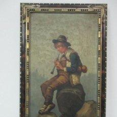 Arte: BONITO PAISAJE, PASTOR - ÓLEO SOBRE TABLA - FIRMA F. URRUTIA - FINALES S. XIX. Lote 145627402