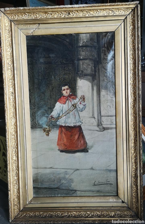EDUARDO SÁNCHEZ SOLÁ (1869-1949) - MONAGUILLO (Arte - Pintura - Pintura al Óleo Moderna siglo XIX)