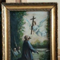 Arte: ANTIGUO OLEO SOBRE LIENZO, MOTIVOS RELIGIOSOS 45X56,5CM. Lote 178591985