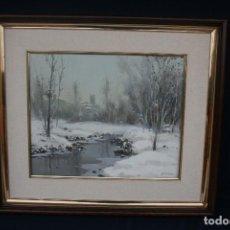 Arte: JOSEP COLOMER I COMAS (SANT FELIU DE PALLEROLS. GIRONA 1935 - 2003) OLEO SOBRE TELA. PAISAJE NEVADO. Lote 146135834