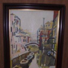 Arte: LIENZO SOBRE TELA. IMAGEN DE CANAL DE VENECIA Y PUENTE AL FONDO. 33 X 47CM. VER. Lote 146233854