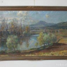 Arte: ÓLEO SOBRE TELA - RAMÓN BARNADAS (OLOT 1909 - GIRONA 1981) - PAISAJE DEL ROSELLÓN (ROSSELLÓ) 1951. Lote 146264222