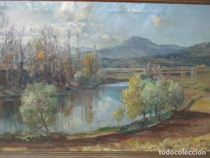 Arte: Óleo sobre Tela - Ramón Barnadas (Olot 1909 - Girona 1981) - Paisaje del Rosellón (Rosselló) 1951 - Foto 2 - 146264222