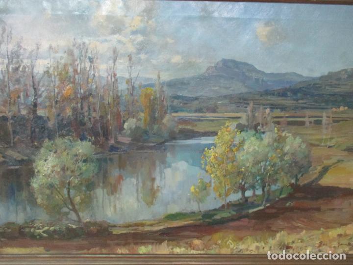 Arte: Óleo sobre Tela - Ramón Barnadas (Olot 1909 - Girona 1981) - Paisaje del Rosellón (Rosselló) 1951 - Foto 3 - 146264222