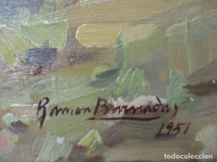 Arte: Óleo sobre Tela - Ramón Barnadas (Olot 1909 - Girona 1981) - Paisaje del Rosellón (Rosselló) 1951 - Foto 11 - 146264222