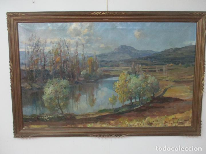 Arte: Óleo sobre Tela - Ramón Barnadas (Olot 1909 - Girona 1981) - Paisaje del Rosellón (Rosselló) 1951 - Foto 12 - 146264222