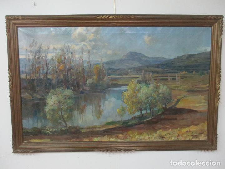Arte: Óleo sobre Tela - Ramón Barnadas (Olot 1909 - Girona 1981) - Paisaje del Rosellón (Rosselló) 1951 - Foto 18 - 146264222