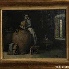 Arte: OLEO/LIENZO PEGADO A TABLA FIRMADO TOMAS FABREGAT .ENMARCADO. Lote 146382006