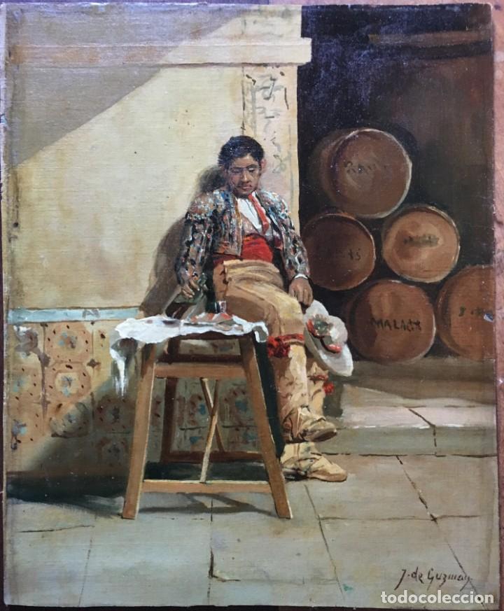 JUAN BAUTISTA GUZMAN (1850-1898) PINTOR ESPAÑOL - ÓLEO SOBRE TELA PEGADO A CARTÓN (Arte - Pintura - Pintura al Óleo Moderna siglo XIX)