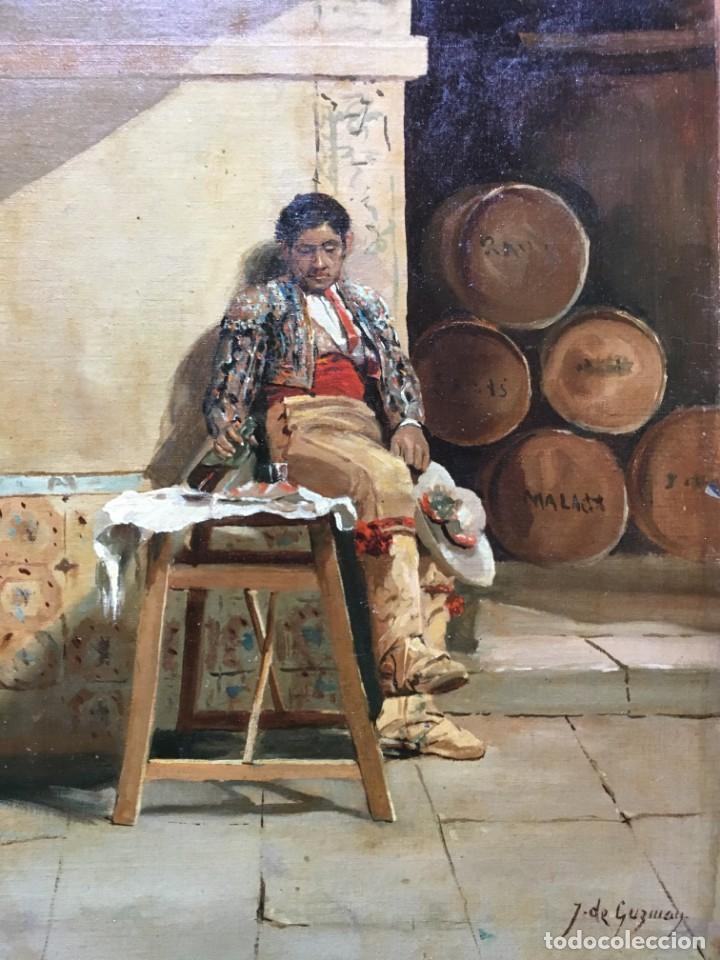 Arte: Juan Bautista GUZMAN (1850-1898) Pintor Español - Óleo sobre tela pegado a cartón - Foto 2 - 146437458