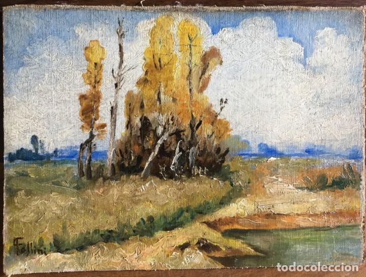 CARLO FOLLINI (1848-1938) PINTOR ITALIANO - ÓLEO SOBRE TELA PEGADA A CARTÓN (Arte - Pintura - Pintura al Óleo Moderna sin fecha definida)