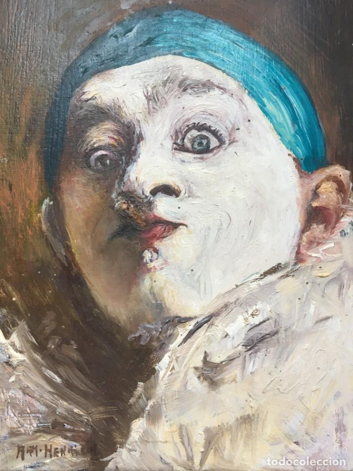 ARMAND HENRION (1875-1958) PINTOR BELGA - ÓLEO SOBRE TABLA - AUTORRETRATO CON CIGARRILLO (Arte - Pintura - Pintura al Óleo Moderna sin fecha definida)