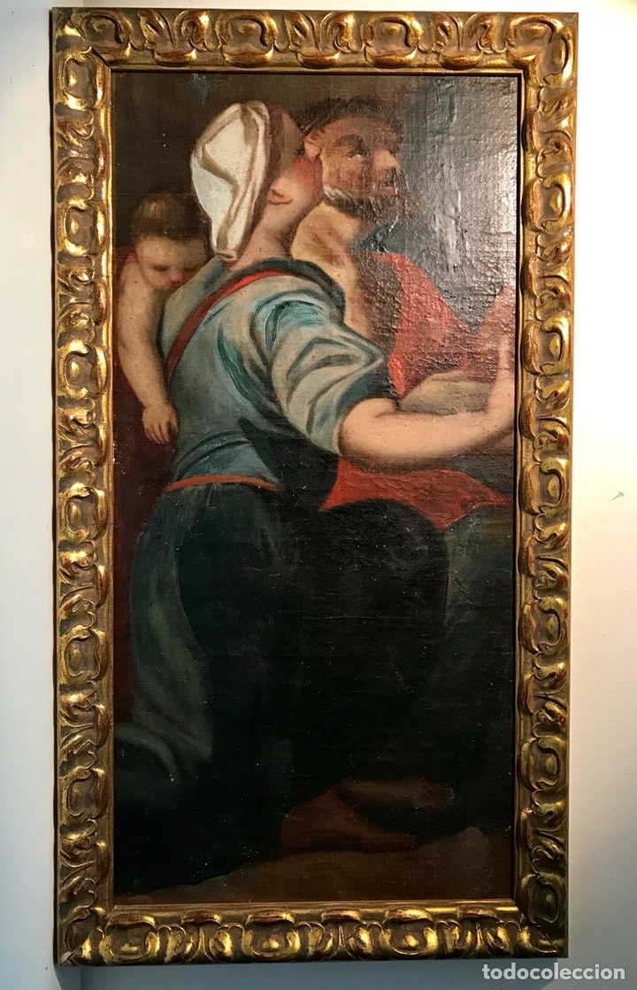 ÓLEO SOBRE LIENZO PEGADO A UNA TABLA. PINTURA DEL SIGLO XVIII. PERSONAJES. (Arte - Pintura - Pintura al Óleo Antigua siglo XVIII)