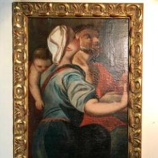 Arte: ÓLEO SOBRE LIENZO PEGADO A UNA TABLA. PINTURA DEL SIGLO XVIII. PERSONAJES.. Lote 146510696