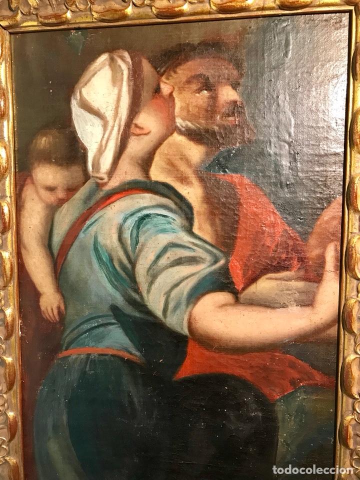 Arte: Óleo sobre lienzo pegado a una tabla. Pintura del siglo XVIII. Personajes. - Foto 2 - 146510696
