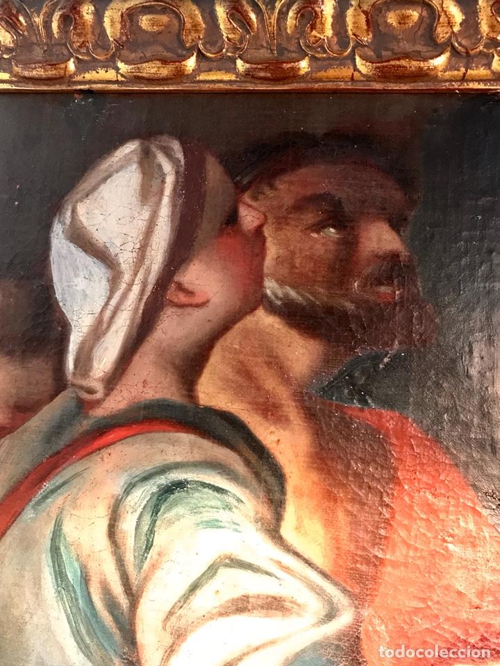 Arte: Óleo sobre lienzo pegado a una tabla. Pintura del siglo XVIII. Personajes. - Foto 4 - 146510696
