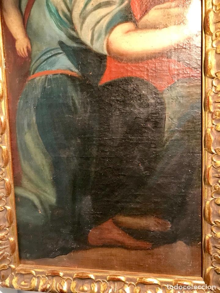 Arte: Óleo sobre lienzo pegado a una tabla. Pintura del siglo XVIII. Personajes. - Foto 5 - 146510696