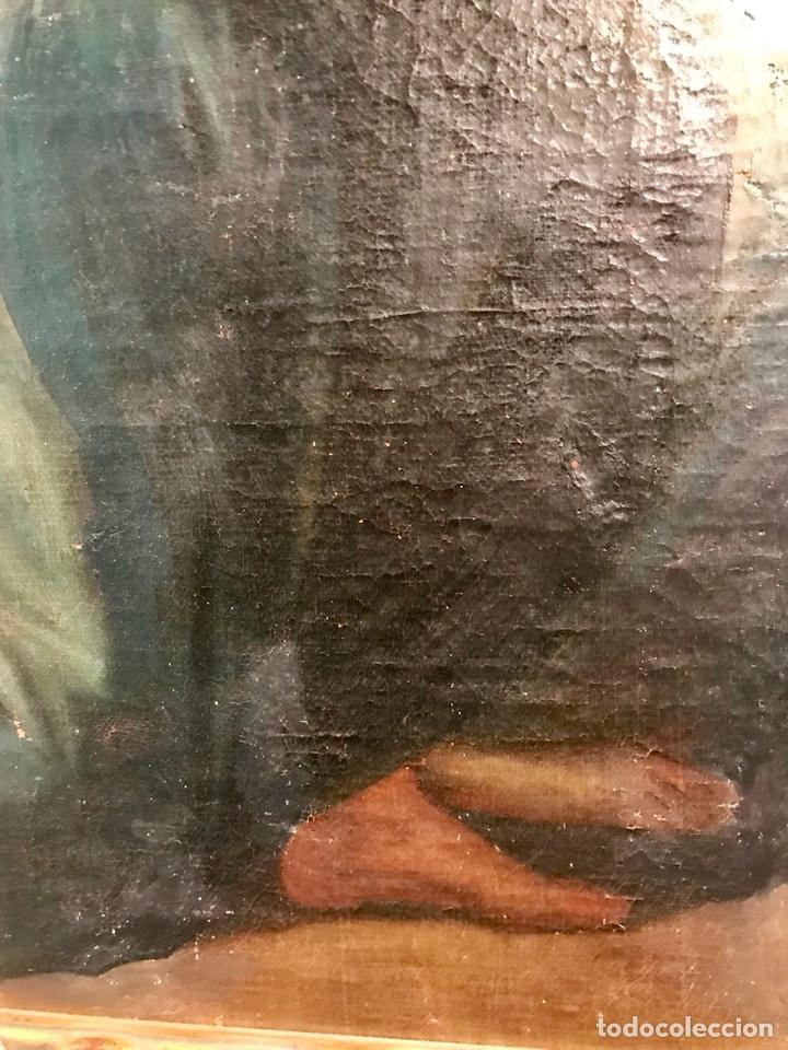 Arte: Óleo sobre lienzo pegado a una tabla. Pintura del siglo XVIII. Personajes. - Foto 6 - 146510696