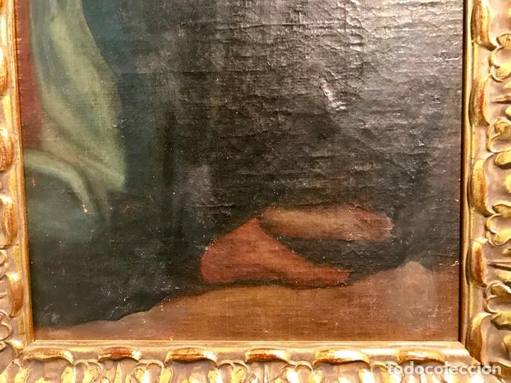 Arte: Óleo sobre lienzo pegado a una tabla. Pintura del siglo XVIII. Personajes. - Foto 7 - 146510696