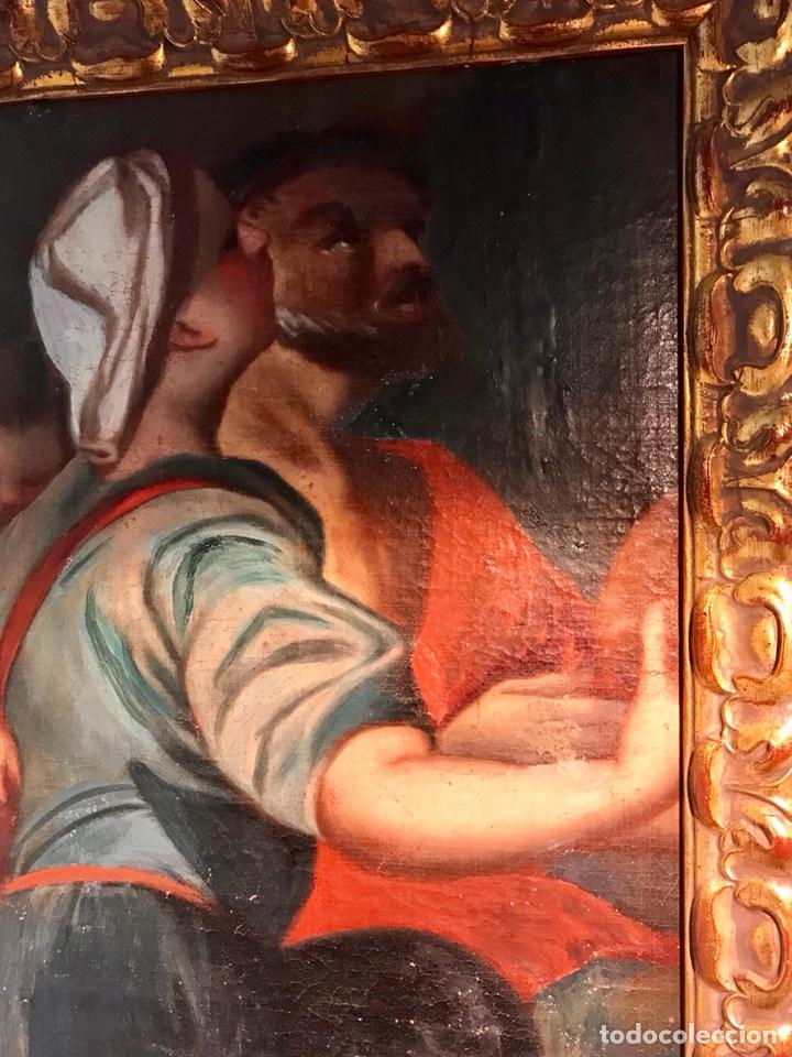 Arte: Óleo sobre lienzo pegado a una tabla. Pintura del siglo XVIII. Personajes. - Foto 9 - 146510696