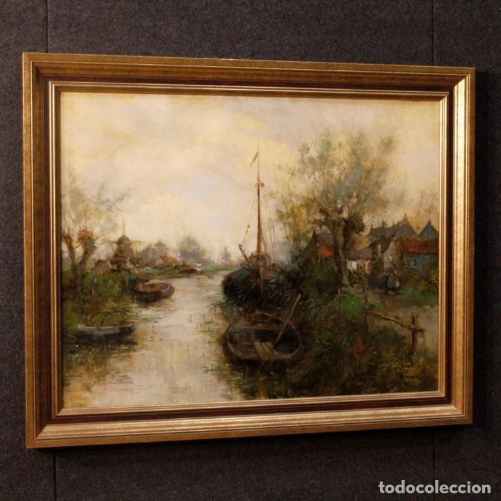 Arte: Pintura holandesa al óleo sobre lienzo con paisaje del siglo XX - Foto 4 - 146522202