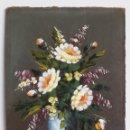 Arte: JARRÓN CON FLORES FIRMADO PERAL. OLEO SOBRE TABLEX AÑOS 60. TAMAÑO 31 X 21 CM. Lote 146536014