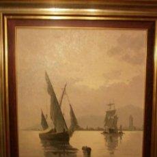 Arte: BARCOS EN EL PUERTO DE MÁLAGA - ESTEBAN ARRIAGA (TENERIFE 1922- MÁLAGA 2009) - ÓLEO SOBRE LIENZO.. Lote 146626398