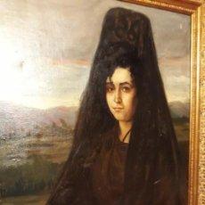 Arte: RETRATO DE MUJER CON MANTILLA - FERNANDO LABRADA MARTÍN (1888 - 1977) - ÓLEO SOBRE LIENZO.. Lote 146635594