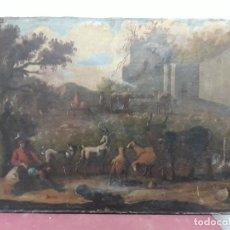 Arte: PINTURA AL OLEO TEMATICA PASTORIL-CAMPESTRE...XVIII/XIX. Lote 146681030