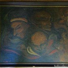 Arte: ÓLEO CON ROSTROS MASCULINOS DE PINTOR DE TUDELA CARLOS GARCÍA CHARELA (NAVARRA 1952). Lote 146640678