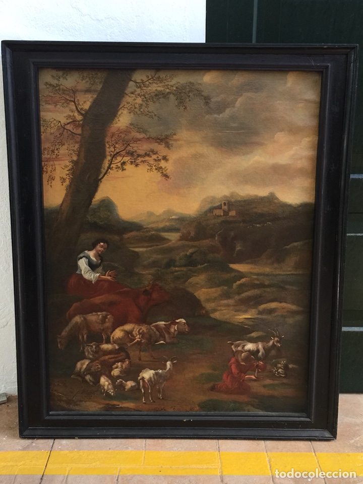 "PAISAGE ""ESCUELA HOLANDESA"" (Arte - Pintura - Pintura al Óleo Antigua siglo XVIII)"