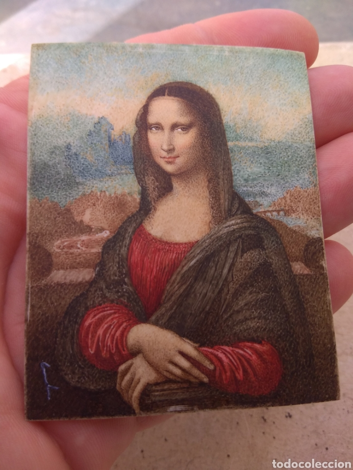 Arte: Preciosa Gioconda de Leonardo Da Vinci - Pintada Sobre Placa de Marfil - Elena Caula - Roma - Italia - Foto 9 - 146887785