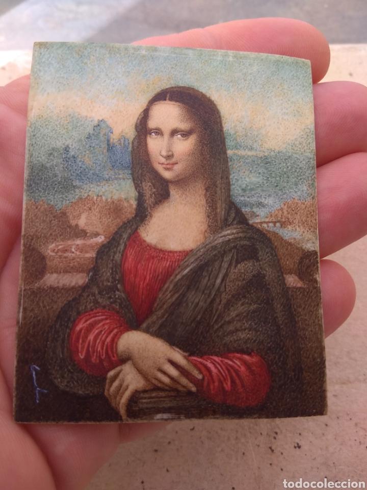 Arte: Preciosa Gioconda de Leonardo Da Vinci - Pintada Sobre Placa de Marfil - Elena Caula - Roma - Italia - Foto 10 - 146887785