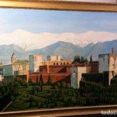 Arte: ALHAMBRA DE GRANADA OLEO LIENZO FIRMADO 1969 MEDIDAS 85X112. Lote 146982442