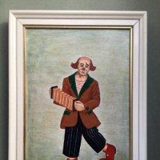 Arte: EXCELENTE CUADRO DE PAYASO PINTADO AL OLEO O ACRILICO SOBRE MADERA, DE J CANAL. Lote 147044690