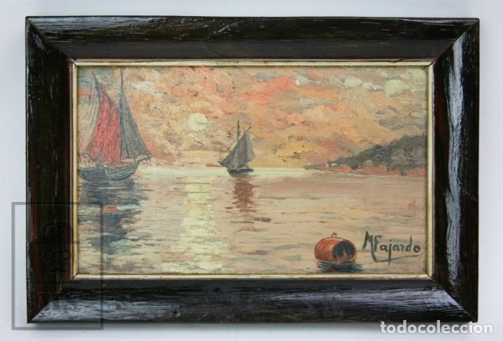 Arte: 2 Pinturas Impresionistas al Óleo Sobre Tabla - M. Fajardo - Marina / Paisaje Costero - Ppios S. XX - Foto 2 - 147145234