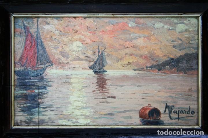 Arte: 2 Pinturas Impresionistas al Óleo Sobre Tabla - M. Fajardo - Marina / Paisaje Costero - Ppios S. XX - Foto 3 - 147145234