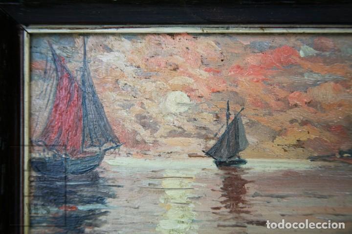 Arte: 2 Pinturas Impresionistas al Óleo Sobre Tabla - M. Fajardo - Marina / Paisaje Costero - Ppios S. XX - Foto 4 - 147145234