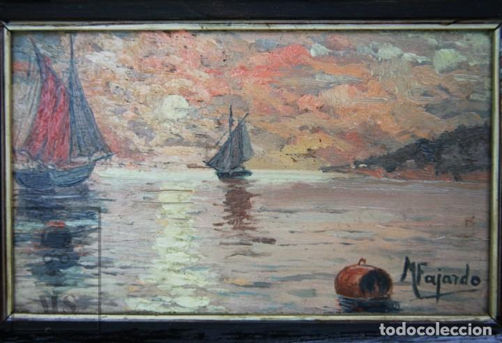 Arte: 2 Pinturas Impresionistas al Óleo Sobre Tabla - M. Fajardo - Marina / Paisaje Costero - Ppios S. XX - Foto 5 - 147145234