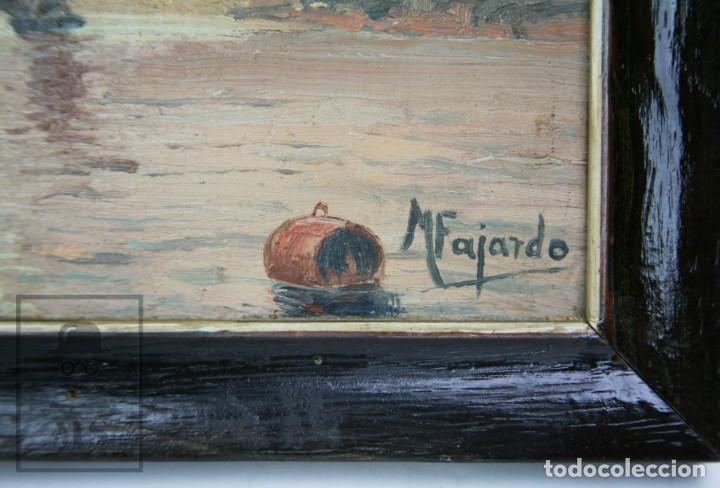 Arte: 2 Pinturas Impresionistas al Óleo Sobre Tabla - M. Fajardo - Marina / Paisaje Costero - Ppios S. XX - Foto 6 - 147145234