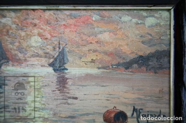 Arte: 2 Pinturas Impresionistas al Óleo Sobre Tabla - M. Fajardo - Marina / Paisaje Costero - Ppios S. XX - Foto 7 - 147145234