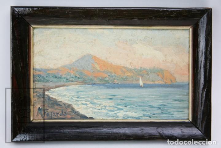 Arte: 2 Pinturas Impresionistas al Óleo Sobre Tabla - M. Fajardo - Marina / Paisaje Costero - Ppios S. XX - Foto 9 - 147145234