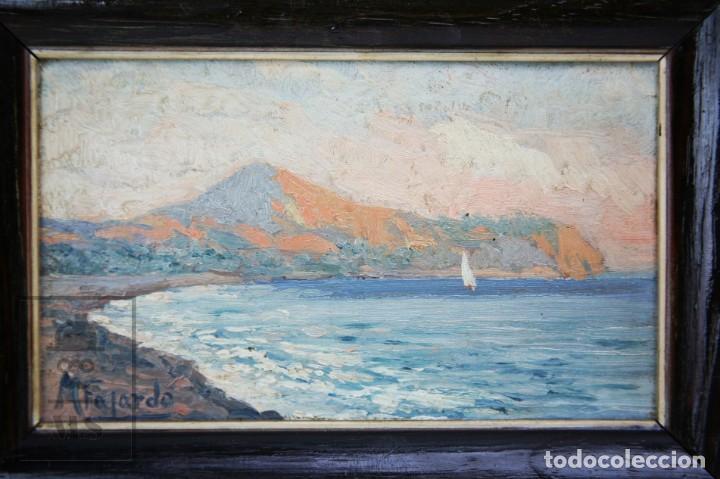 Arte: 2 Pinturas Impresionistas al Óleo Sobre Tabla - M. Fajardo - Marina / Paisaje Costero - Ppios S. XX - Foto 10 - 147145234