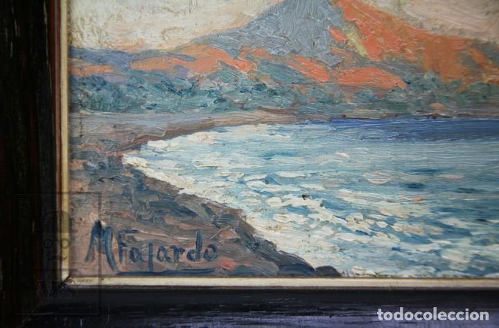 Arte: 2 Pinturas Impresionistas al Óleo Sobre Tabla - M. Fajardo - Marina / Paisaje Costero - Ppios S. XX - Foto 11 - 147145234