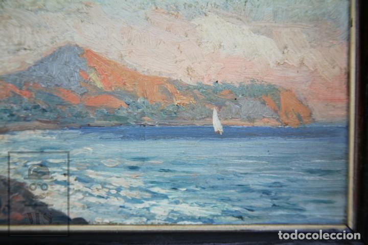 Arte: 2 Pinturas Impresionistas al Óleo Sobre Tabla - M. Fajardo - Marina / Paisaje Costero - Ppios S. XX - Foto 12 - 147145234