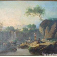 Arte: OLEO SOBRE LIENZO, PAISAJE CON FIGURAS, ESCUELA ESPAÑOLA ,SIGLO XIX, ANONIMO. Lote 147151182