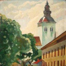 Arte: ESCUELA EUROPEA, OLEO/TABLA 54 X 40 CM. CALLE DE ESTOCOLMO, 1943. FIRMADO.. Lote 147152338