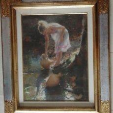 Arte: VICENTE ROMERO REDONDO - PASTEL SOBRE PAPEL PEGADO A TELA - ENMARCADO 91 X 77. Lote 147158894